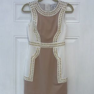 Finders Keepers white and tan gold studded dress